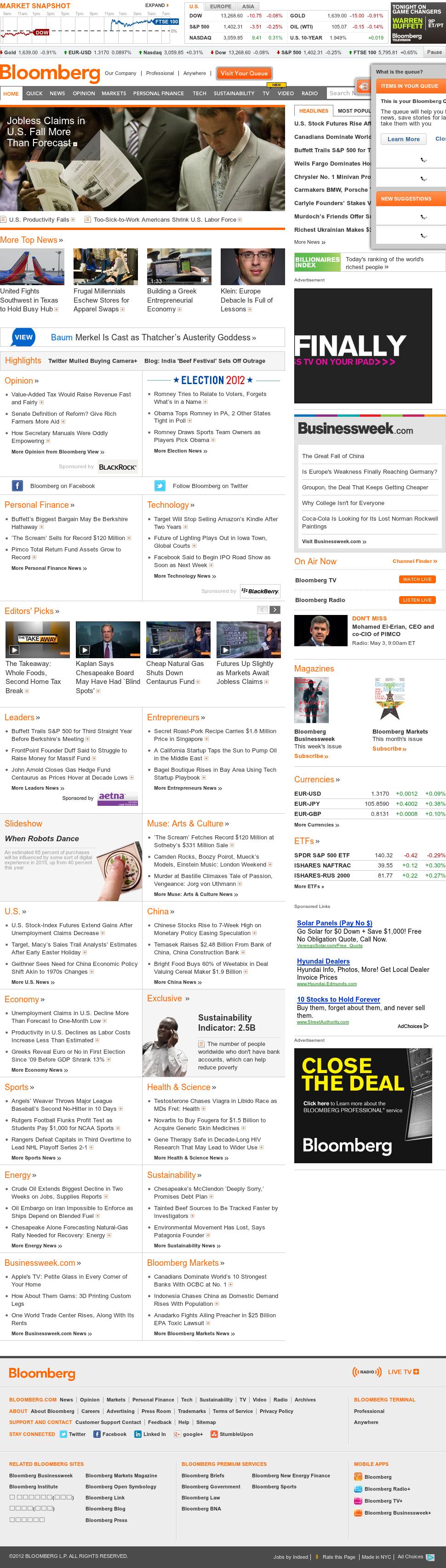 Bloomberg at Thursday May 3, 2012, 1 p.m. UTC